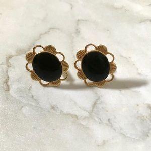 J. Crew Gold & Black Daisy Earrings